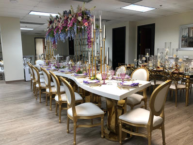 Mia Table & Gold Elyse Chairs
