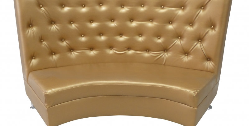 Gold Tufted Curved Sofa
