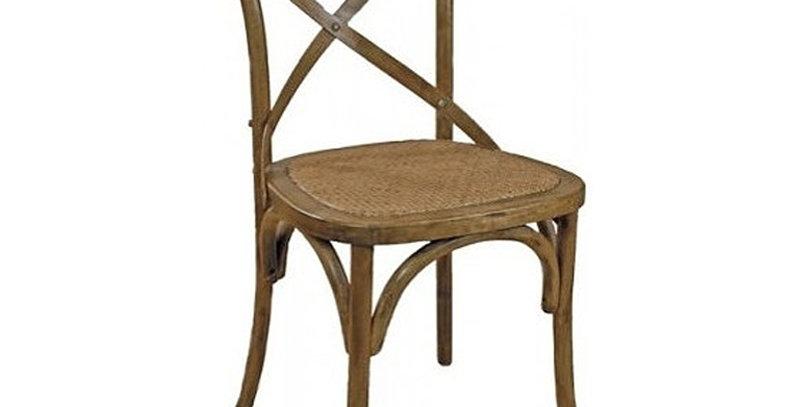 Cross Back Chestnut Wicker Seat