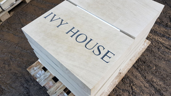 Masonry lettering carved