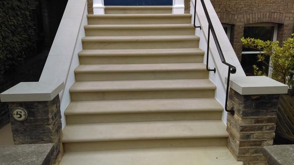Dappled yorkstone steps sandstone