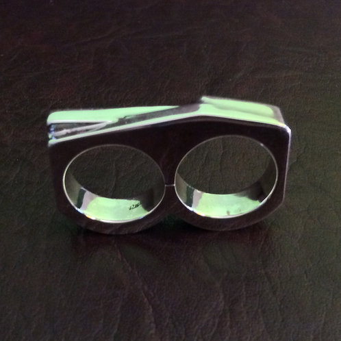 Sterling silver hollow double rings | RG667807