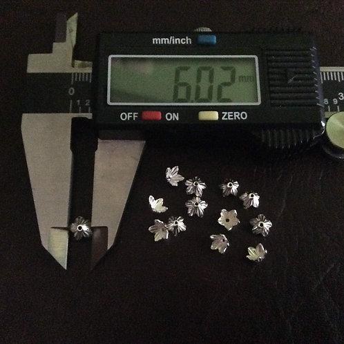 Sterling Silver star flower beadcap 6 mm - BC229126