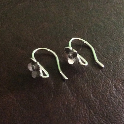 Sterling silver flower earwire 15 mm with 1.5 mm CZ | EW889135