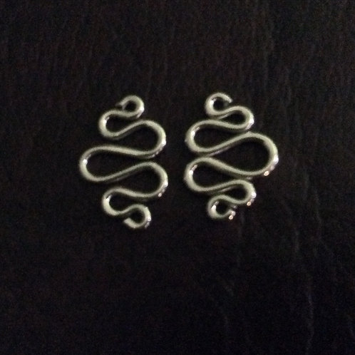 Sterling silver wiggles connectors 14 x 9.7 mm | CN779127