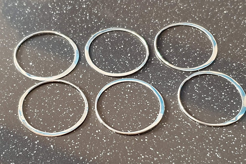 Sterling silver flat circle link 25 mm - price start for 6 pieces