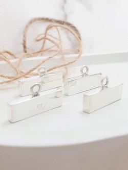 Sterling silver rectangular endcap