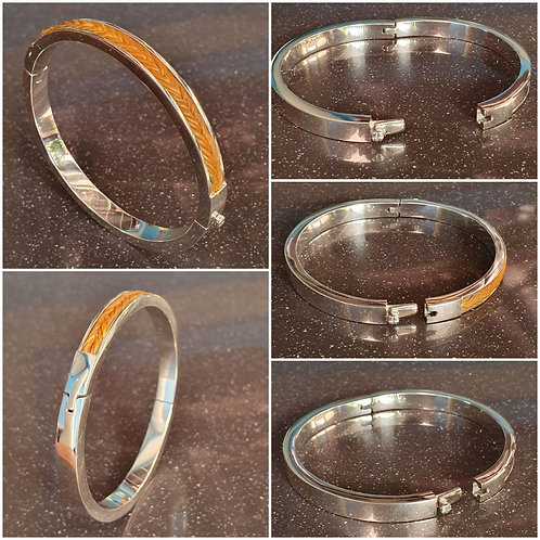 Sterling silver horsehair Bangle 63 mm with tongue clasp | BG996602