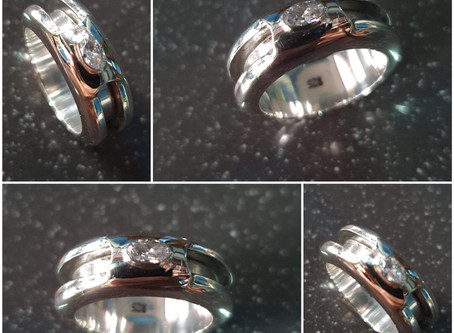 Sterling silver round channel ring 2.25 x 3.0 x 2.25 | 3 x 5 mm CZ | Six Colors Available - RG887831