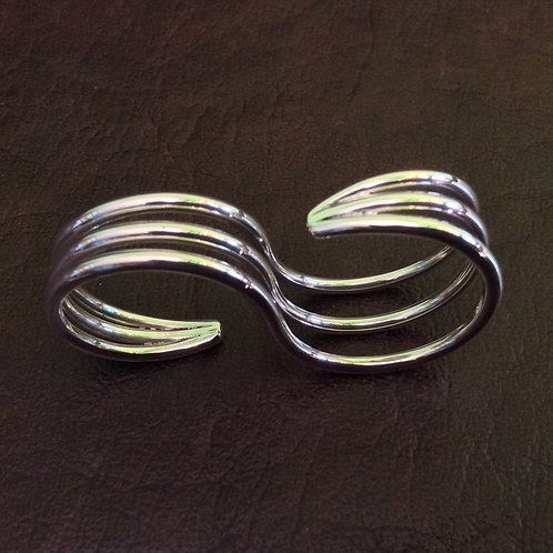 Sterling silver double rings triple wire | RG667804