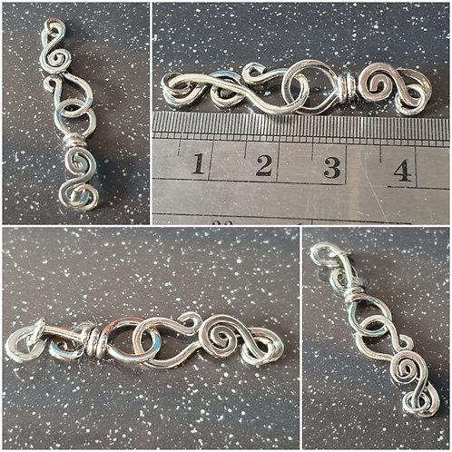 Sterling silver hook eye clasp 40 mm | CL228818