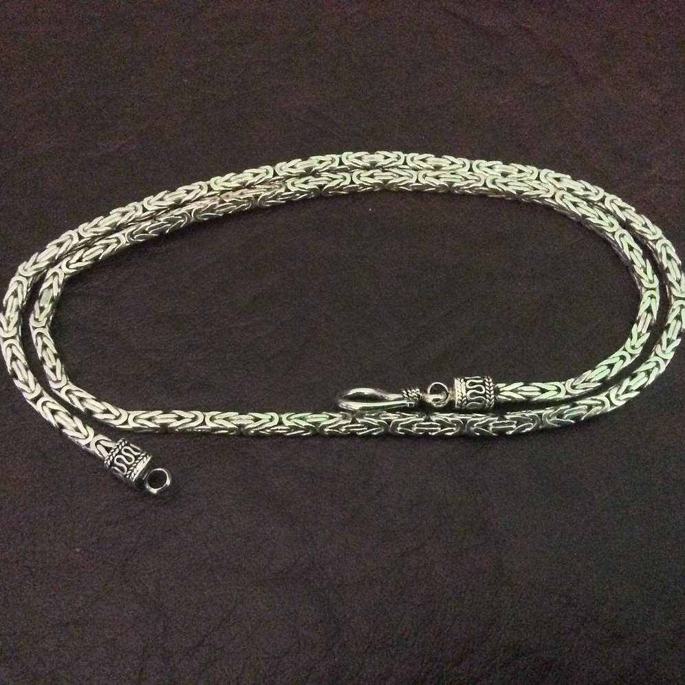 Sterling silver square Byzantine chain necklace 3 0 mm with S-Clasp