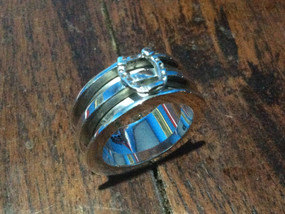 Sterling silver double channel ring 2.5 x 2.5 x outside 9.0 mm - RG887824