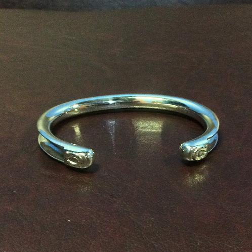 Sterling silver channel cuff round 60 x 45 mm | CUFF25