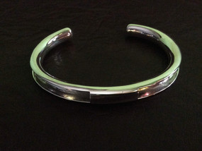 Sterling silver channel cuff round 60 x 45 mm - CUFF25