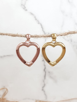 Sterling silver equestrian heart charm pendant vermeil yellow and rosegold color