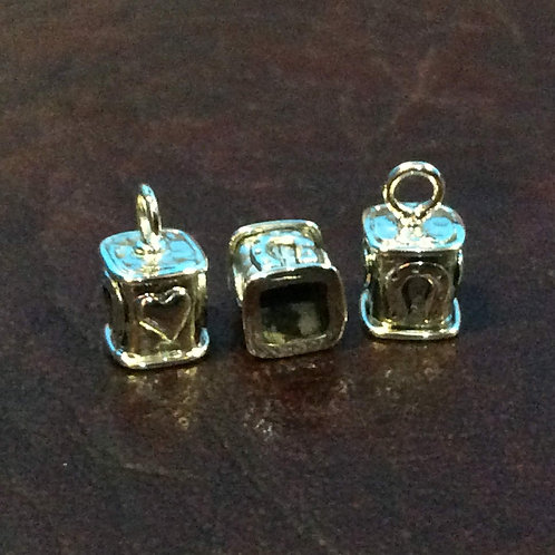 Sterling silver square end cap   4 x 4 x 6 mm   EC998908