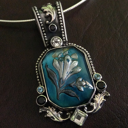 Sterling silver Cameo Necklace with Gemstones | NLS998716