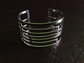Silver cuff with front garden gate design length 16.0 cm x width 4.5 cm