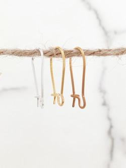 Sterling silver kidney earwire 20 mm
