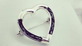 Sterling silver Heart Pin Brooch