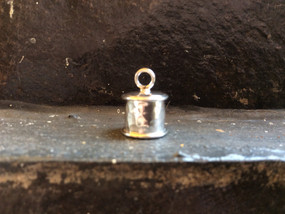 Sterling silver round endcap 8 mm with wire and hammer finished