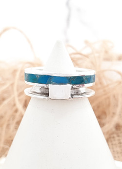 Sterling silver equestrian ring with crushed Opal
