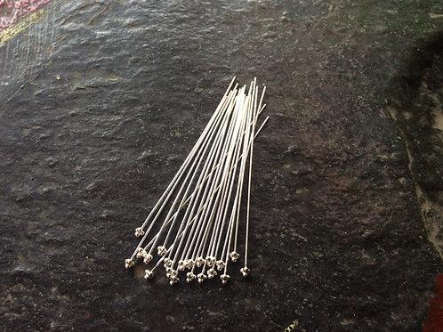 Sterling silver headpin 22 gauge or 0.65 x 50 mm x 4 balls - HP229120