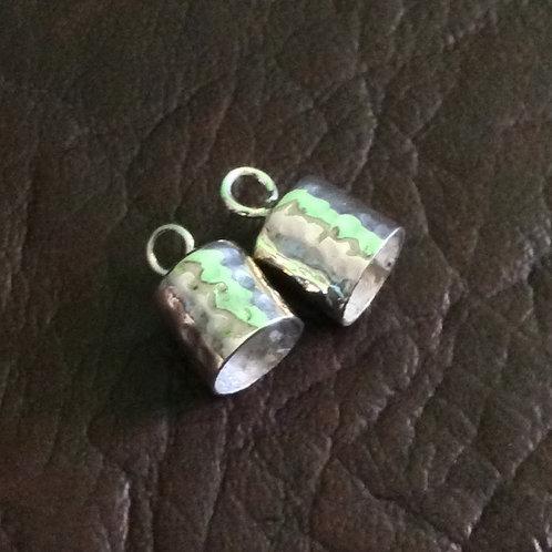Sterling silver hammer end cap 8.0 mm | EC998875