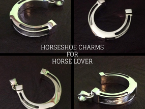Sterling silver horseshoe charm 29 x 27 mm front overlay for equestrian jewelry - CH557185