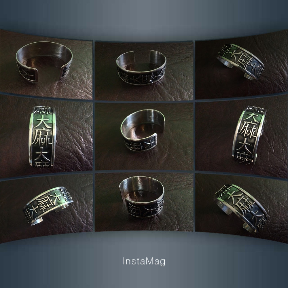 Sterling Silver Cuff Marijuana with Chinese Characters