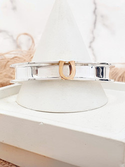 Sterling silver equestrian cuff Gold Horseshoe with Gold Horseshoe