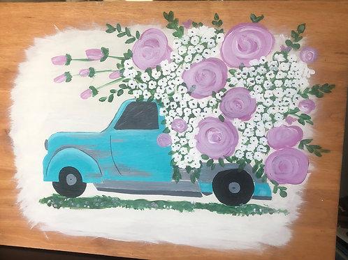 Blue truck , Purple Flower