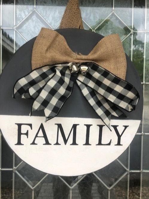 Family Wooden Door Sign