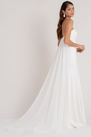 Jenny Yoo Crepe bridal gown with detacheable cape
