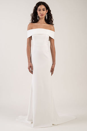 Jenny Yoo Bridal Gown Style Cooper Crepe gown off the shoulder