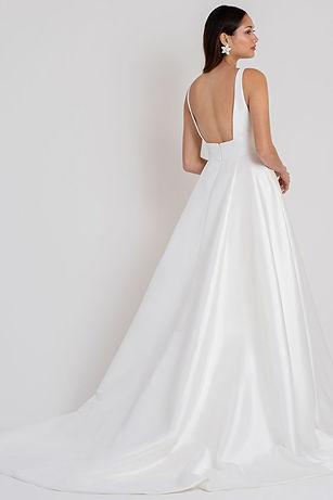 Jenny Yoo bridal gown style Channing back view with train