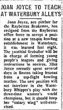 Joan Joyce Bowling Nov 27 1960 Waterbury