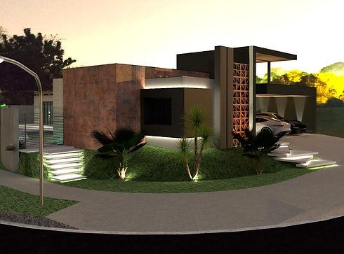 Jardim 3d Residencia exterior Arquitetur