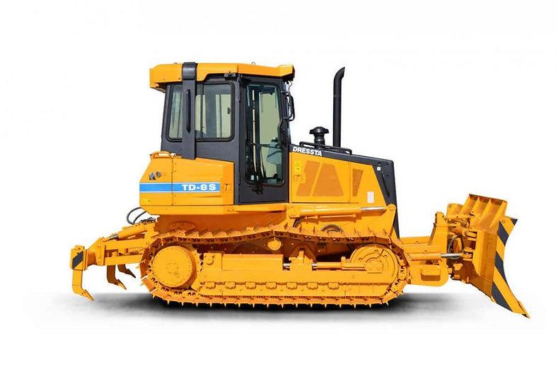 caminhão decontrução laranja sendo apontado