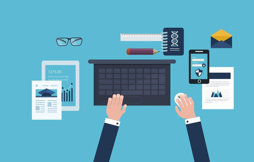 imagem vetor colorida, executivo usando diversas ferramentas digitais para apontamento eletronico, com laptop, celular e papeis