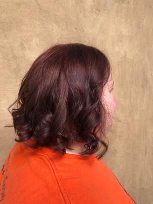 Auburn red hair color on shoulder length hair