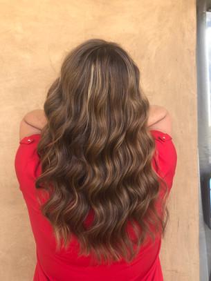 Carmel hilights on long beachwave hair