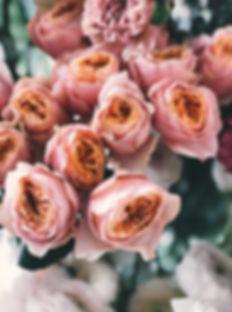 Bouquet of light pink garden roses at Creative Image Hair Salon