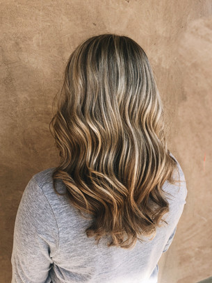Blonde balayage with a shadow root