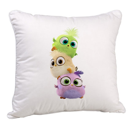 Angry Birds  Printed Poly Satin Cushion Pillow Cover with Filler