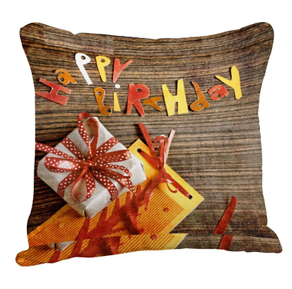 Happy Birthday Printed Poly Satin Cushion Pillow with Filler