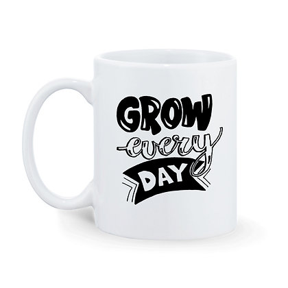 Grow Every Day Printed Ceramic Coffee Mug 325 ml