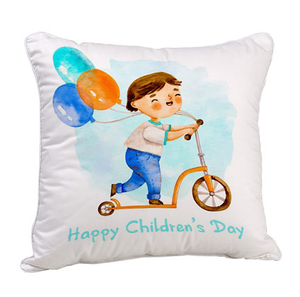 Happy Childran's Day Satin Cushion Pillow with Filler