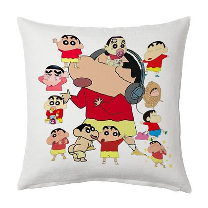 Sinchan Printed Poly Satin Cushions Pillow Cover with Filler